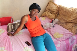 Tebogo Mauwane is a female mineworker. She is seen in her small room. Picture by Yazeed Kamaldien